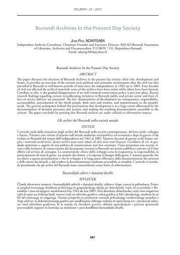 Burundi Archives In the Present Day Society - IIAS International ...
