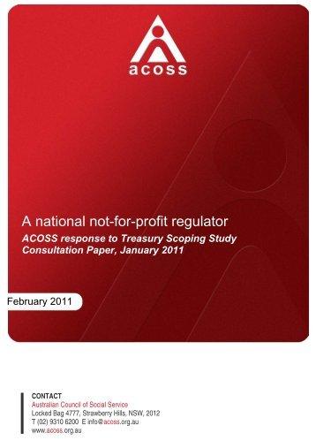 A national not-for-profit regulator - Australian Council of Social Service