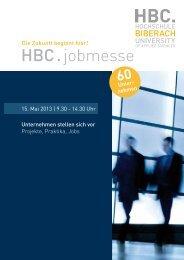 HBC.jobmesse-Broschüre 2013 - Hochschule Biberach