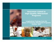 Outcomes Linked to High-Quality Afterschool Programs