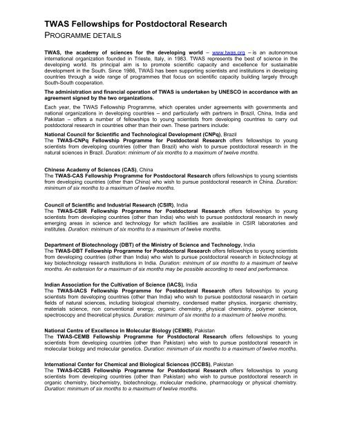 TWAS Fellowships for Postdoctoral Research - Department of