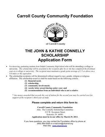 John & Kathie Connelly Scholarship - Carroll County Community ...