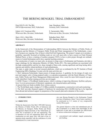 THE BERENG BENGKEL TRIAL EMBANKMENT