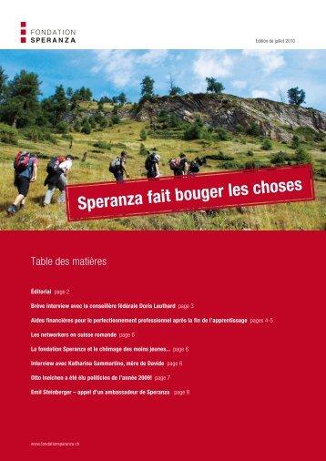 Edition de juillet 2010 - Stiftung Speranza