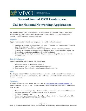 Second Annual VIVO Conference Call for National Networking ...