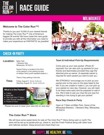 Download Your Milwaukee Pre-Race Docs Here! - The Color Run