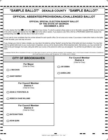 SAMPLE BALLOT* DEKALB COUNTY *SAMPLE BALLOT