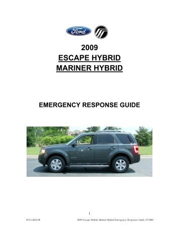 2009 escape hybrid mariner hybrid - Electric Vehicle Safety Training