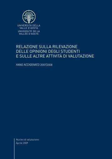 Relazione Nucleo rilevazione opinioni studenti - a.a. 2007/2008