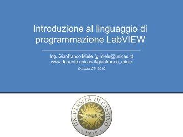 Introduzione al linguaggio di programmazione LabVIEW