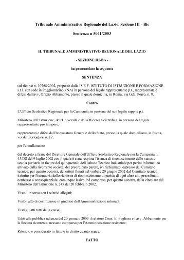 sentenza TAR Lazio per numero minimo di alunni per classe