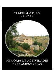 vi legislatura memoria de actividades parlamentarias - Cortes de ...