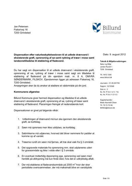 Dispensation og landzonetilladelse til ... - Billund Kommune