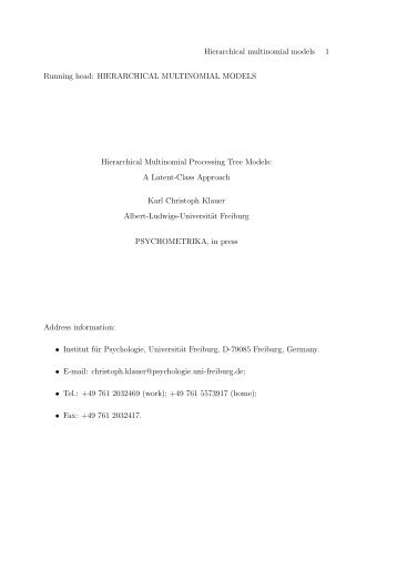 hierarchical multinomial processing tree models: a latent-class ...