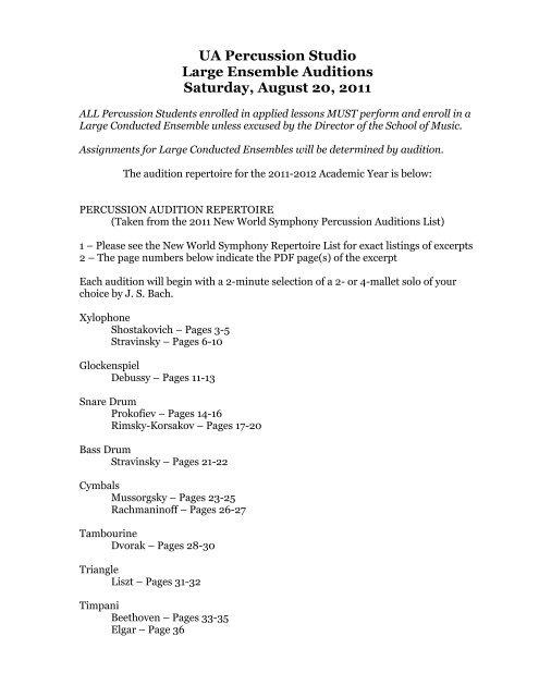 UA Percussion Studio Large Ensemble Auditions Saturday, August