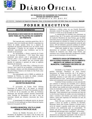 Segunda-feira - Prefeitura de Cachoeiro de Itapemirim - Governo do ...