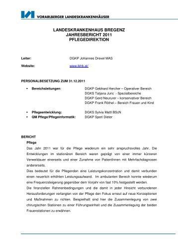 landeskrankenhaus bregenz jahresbericht 2011 pflegedirektion