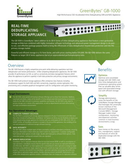 GreenBytes® GB-1000 - SiGNAL Computer Products