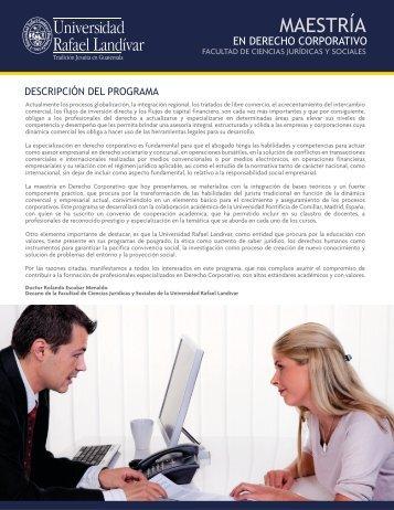 Maestría en Derecho Corporativo - Universidad Rafael Landívar