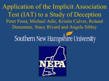 (IAT) to a study of deception - SNHU Academic Archive - Southern ...