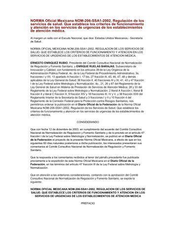 NORMA Oficial Mexicana NOM-206-SSA1-2002, Regulación de los ...
