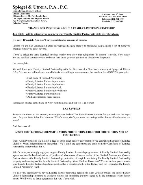 New York Family Limited Partnership Inquiry Packet pdf
