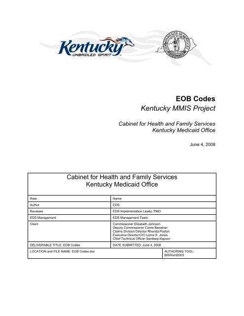 EOB Codes Listing (PDF) - Kymmis com