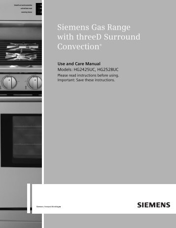 Use and Care Manual - Siemens Home