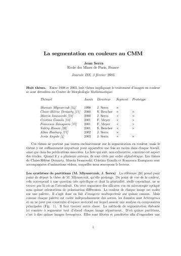 La segmentation en couleurs au CMM - Centre de Morphologie ...