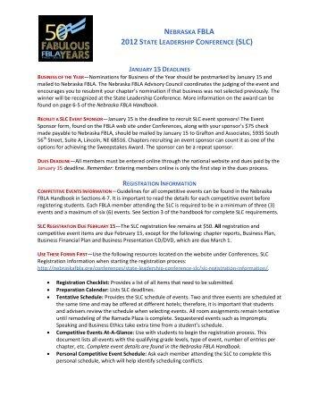 Nebraska FBLA SLC Information memo
