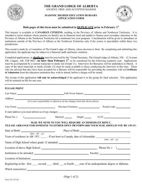 Masonic Higher Education Bursary Application Form