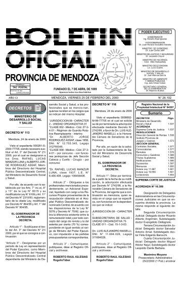 Boletin Oficial N 26102 del 25/02/2000 - Gobernación de Mendoza
