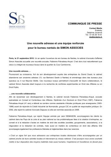 COMMUNIQUE DE PRESSE Une nouvelle ... - Simon Associés