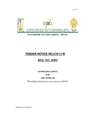 SECTION-E: TENDER AND CONTRACT FOR WORKS
