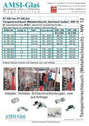 Metallschlauch und Zubehör - AMSI Glas AG, Glasapparate, Labor