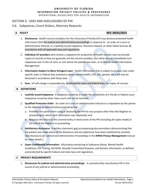 Subpoenas, Court Orders, and Attorney Requests - UF Privacy