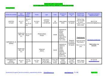 verano 2011, leganés. actividades para niñas, niños y adolescentes