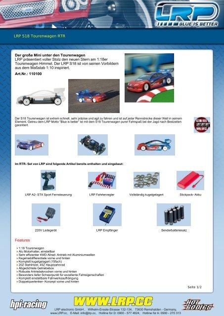 LRP S18 Tourenwagen RTR Technische Daten