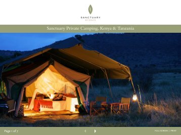 Sanctuary Private Camping, Kenya & Tanzania - Sanctuary Retreats