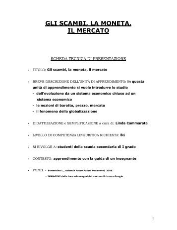 gli scambi, la moneta, il mercato.pdf - Italiano per lo studio