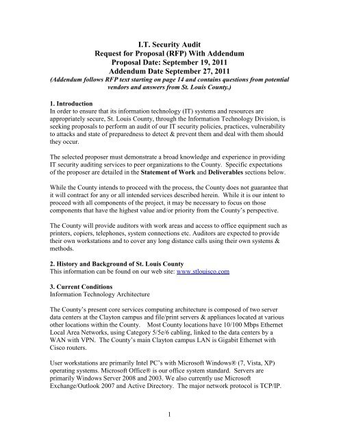 I T  Security Audit Request for Proposal (RFP     - St
