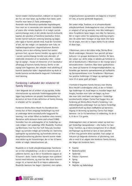 (2012): Family literacy – læsepraksis i familien - Viden om Læsning