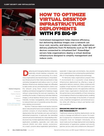 Optimize Virtual Desktop Infrastructure Deployments ... - F5 Networks