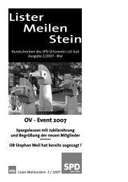 Lister Meilenstein, Ausgabe 2/2007 - SPD-Ortsverein List-Süd