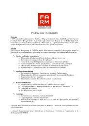 Profil de poste : Gestionnaire - Fondation FARM