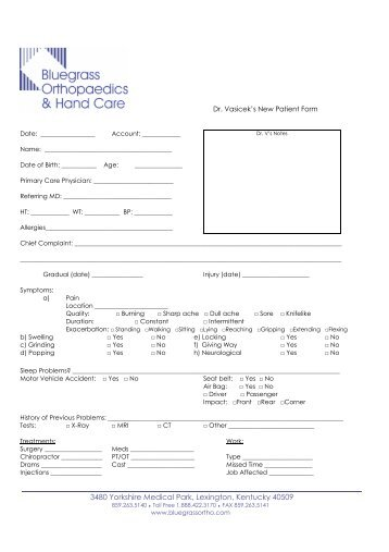 Dr. Vasicek's New Patient Form - Bluegrass Orthopaedics & Hand ...