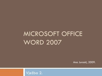 Microsoft Office Word 2007 — Vježba 2