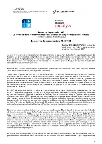 Les grèves de passementiers. 1848-1900. - Archives municipales ...