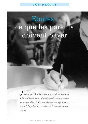VOS DROITS: Etudes: ce que les parents doivent payer