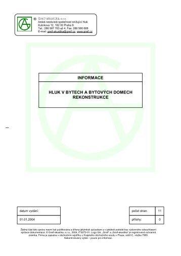 ITS072-01 Hluk v bytech a obytnych domech - Greif-akustika sro